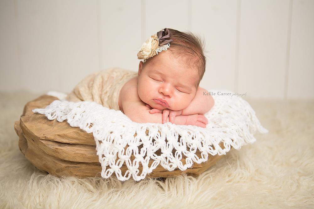 two week old sleeping baby girl