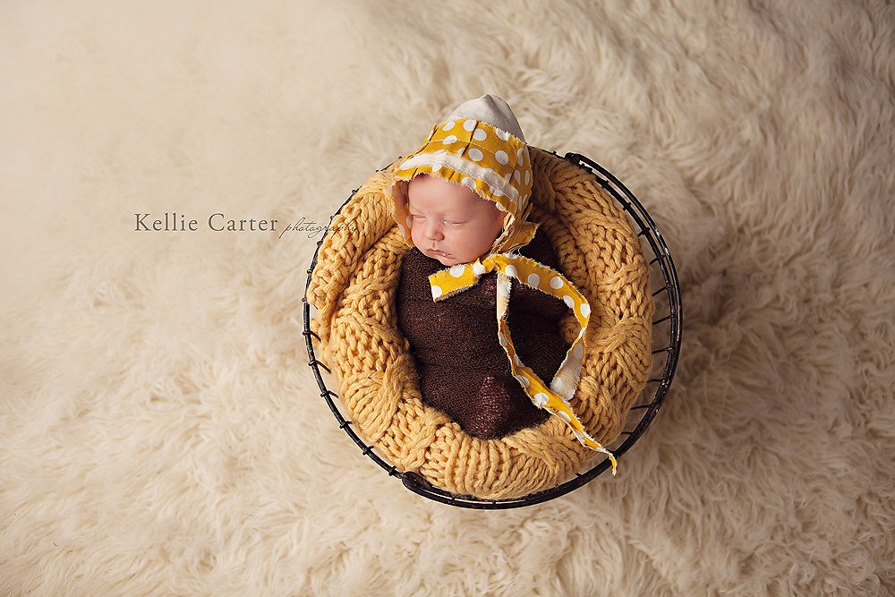 Newborn Baby Girl in Bonnet
