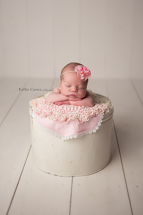 9 day old baby girl vintage bucket