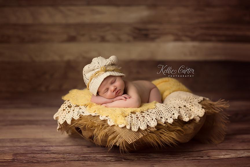 Newborn Baby Girl in Vintage Prop